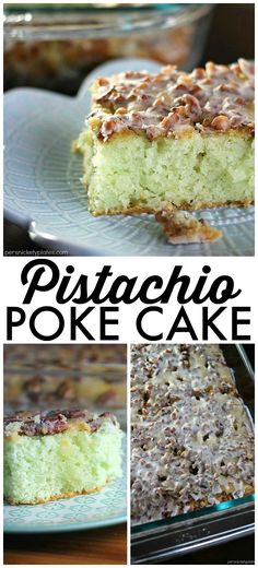 This Pistachio Cake starts with a cake mix so it's super easy and always a crowd pleaser. Topped with pecans and filled with delicious pistachio pudding, this cake is simple yet irresistible!   Persnickety Plates