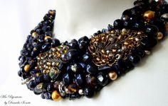 Colier statement lucrat minutios Crochet Necklace, Handmade, Jewelry, Hand Made, Jewlery, Crochet Collar, Bijoux, Jewerly, Jewelery