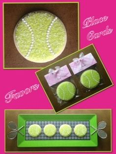 Tennis Ball Cookies for a Tennis Luncheon Packaged as a Place Card & Favor