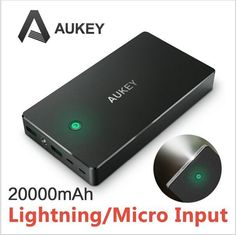 Aukey 20000mAh 2.4A 2 USB Portable Power Bank External Battery Charger AIPower Smart Charging for iPhone iPad Samsung Galaxy Ultra High Capacity With enough power to keep your device off the grid for days, its 20,000 mAh battery juice can charge iPhone 6/6s over 8 times or Galaxy S5 over 6 times, or provide up ...