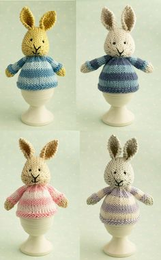 Knitting Pattern for Bunny Egg Cozy = inished size: approx 12cm (5 inches) from base to ear tip and it will fit over a large egg (organic of course) or a chocolate one if you prefer. Designed by Julie Williams, Little Cotton Rabbits