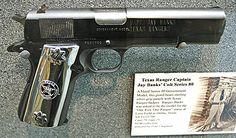 Texas Ranger Captain J. Banks donated this 1911 pistol Custom 1911, Custom Guns, 1911 Pistol, Colt 1911, Pioneer Life, Machine Guns, Disaster Preparedness, Texas Rangers, Guns And Ammo