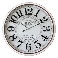 Shop for Infinity Instruments 'Bailey Street' Off-white Glass/Metal/Wood 31.5-inch Round Clock. Get free shipping at Overstock.com - Your Online Home Decor Outlet Store! Get 5% in rewards with Club O!
