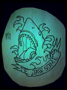 "Traditional shark tattoo, but it would say ""shove it!"" In homage to Defrones song My own Summer :)"