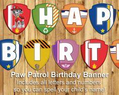 Questo Paw Banner compleanno ispirato Patrol include ogni singola lettera dellalfabeto in modo che è possibile stampare non solo le parole di buon
