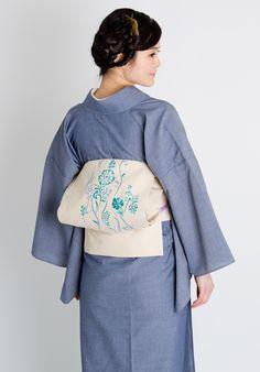 くるり 刺繍名古屋帯【花立涌】エクルベージュ くるり 着物屋くるり