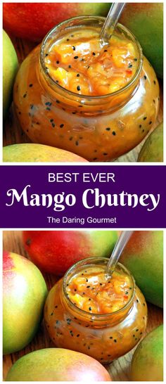 Our readers RAVE about this mango chutney! Fresh, vibrant, and absolutely BURSTING with flavor, you're going to love this versatile and wonderfully delicious condiment! recipes and nutrition and drinks recipes recipes celebration diet recipes Jam Recipes, Canning Recipes, Vegan Recipes, Mango Salsa Canning Recipe, Juicer Recipes, Detox Recipes, Salad Recipes, Recipies, Indian Mango Chutney Recipe