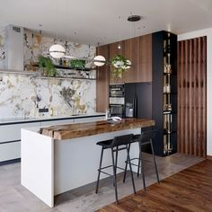 In this kitchen project by PALMA Pendant Planters by make for a delicious hanging garden. Floating In Space, Shabby Chic Kitchen Decor, Apartment Door, Whitewash Wood, Glass Diffuser, Design Awards, Hacks, Wall Sconces, Decoration