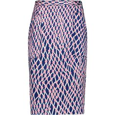 Missoni Printed satin pencil skirt (£753) ❤ liked on Polyvore featuring skirts, navy, blue pencil skirt, satin pencil skirt, missoni skirt, knee high skirts and satin skirt