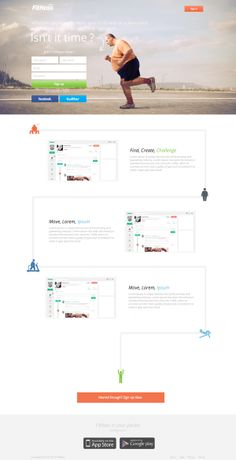 Fitnass Landing Page by Farouk Hosny, via Behance Landing Page Inspiration, Web Design Inspiration, Design Ideas, One Page Website, Website Layout, Bokeh, Landing Page Optimization, Landing Pages That Convert, Web Design Agency