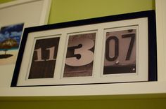 Love this idea for any dates. Use them in the kid's room for a birthday or with a wedding picture for an anniversary. Maybe even a picture of the house you live in on the day you moved in or bought the plac