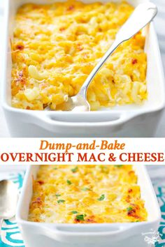 You don t even need to boil the pasta for this Dump-and-Bake Overnight Macaroni and Cheese It s an easy side dish for weeknight dinners holidays and potluck meals with family and friends Easy Potluck Recipes, Side Dish Recipes, Healthy Recipes, Potluck Meals, Weeknight Dinners, Easy Potluck Side Dishes, Main Dish For Potluck, Potluck Dinner, Kid Meals