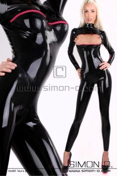 Rubber Catsuit with Cups and chest zip