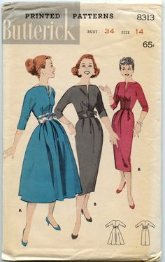 1950s Vintage Butterick 8313 Dress Pattern Slim by GreyDogVintage, $18.00