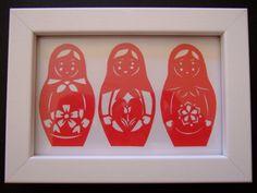 Matryoshka papercut cherry red Tulip in Heart par tamaradesigns Red Tulips, Cherry Red, Paper Cutting, Templates, Heart, Frame, Handmade, Stuff To Buy, Design