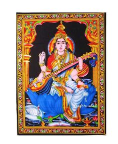 Goddess Saraswati tapestry: Goddess of music and art, Saraswati is the creator of all forms of art. Who those who aspire to be more creative. Music Artwork, Art Music, Altar Cloth, Mother Goddess, Tapestry Wall Hanging, Dorm Decorations, Art Forms, 1 Piece, Screen Printing