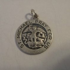1 Sterling Silver 18mm 3 gram Religious Saint St. Michael Medal Charm