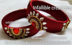 "To order Whatsapp +91 9791090024 For more collections visit ""www.facebook.com/infalliblecreationzsilk"".      Silk Thread jewelry, silk thread bangles, silk thread bridal bangles, wedding bangles, silk thread bangles wholesale, engagement bangles, Grand silk thread bangles, bangles, seemandham bangles, return gifts, party wear bangles, gifts for girls, gifts for women, silk Thread Kada Bangles,Unique silk Thread Bangles, silk thread jewellery, handmade jewelry, infallible creationz"