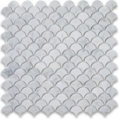 Stone Center Corp - Carrara White Marble Medium Fish Scale Fan Shaped Mosaic Tile Honed - Premium Grade Shell Shaped Carrara Marble Mosaic tiles. Italian Bianco Carrera White Venato Carrara Honed 12 x 12 Medium Fish Scale Fan Shaped Mosaic Wall & Floor Tiles are perfect for any interior/exterior projects. The Carrara White Marble Shell Shaped Fish Scale Mosaic tiles can be used for a bathroom flooring, shower surround, gardern, paving, balcony, corridor, terrace, spa, pool, fountain, etc…