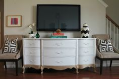 "Taking an ugly, common ""French Provincial"" style dresser and dressing it up with white paint and gold paint for a dipped effect.  I have a similar dresser that I am thinking of painting a color. Burlap and Lace: Gold Dipped TV Console"