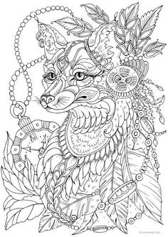 Fantasy Fox - Printable Adult Coloring Page from Favoreads (Coloring book pages for adults and kids, Coloring sheets, Coloring designs) Scary Coloring Pages, Fox Coloring Page, Coloring Pages For Grown Ups, Detailed Coloring Pages, Printable Adult Coloring Pages, Coloring Pages To Print, Animal Coloring Pages, Free Coloring Pages, Coloring Sheets