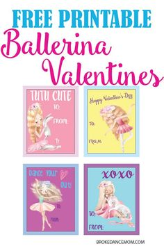Adorable and FREE set of 4 printable ballerina Valentines. Perfect for dance friends, family, school friends and more! Teacher Valentine, Valentines For Kids, Happy Valentines Day, Valentine Ideas, Kids Dance Classes, Dance Moms, Free Activities For Kids, Dance Quotes, Ballet Quotes