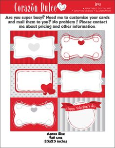 Valentine Printable Cards/tags, book labels, stickers, kids cards, gift tags, labeling, scrapbooking, etc...... $4.80, via Etsy.