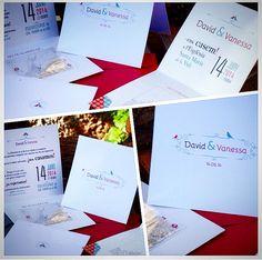 """Invitació de boda """"Vanessa i David"""". Dissenyada diptic + detall."""