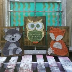 Woodland Collection Nursery Art, String Art Animals, Raccoon Nursery Art, Owl Decor, Fox Wall Art, Woodland Baby Shower Gift, NailedItDesign by NailedItDesign on Etsy https://www.etsy.com/ca/listing/451764128/woodland-collection-nursery-art-string