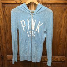 VSpink Light blue hoodie. Oldie but a goodie. Comfy VSPINK light blue full zip hoodie. White lettering. PINK Victoria's Secret Tops Sweatshirts & Hoodies