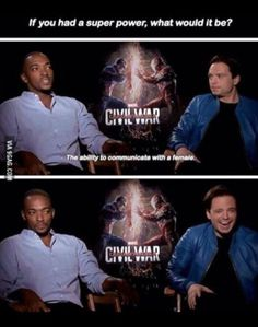 Captain America civil war falcon Bucky what would your superpower be if you could have one Funny Marvel Memes, Dc Memes, Avengers Memes, Marvel Jokes, Marvel Dc Comics, Marvel Avengers, Anthony Mackie, Marvel Actors, Sebastian Stan