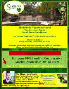Stop by our Sneak Peek Open House in Shamrock Estates!  Do you want to know what your home's worth? Here's a FREE online Market Analysis  www.myhomevaluerightnow.com and we have more homes at www.phoenixhomesearchnow.com Call NOW 480-462-5845!