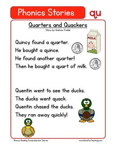 Using this Quarters and Quackers QU Phonics Reading Comprehension Worksheet, students build their reading comprehension and phonics skills while reading words featuring QU. First Grade Reading Comprehension, Phonics Reading, Reading Comprehension Worksheets, Teaching Phonics, Kindergarten Reading, Teaching Reading, Comprehension Questions, Preschool Kindergarten, Reading Strategies