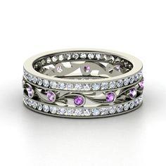 Platinum Ring with Amethyst & Diamond