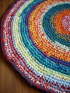 Round Crochet Rag Rug 38 inches - made with tarn (t-shirt yarn)