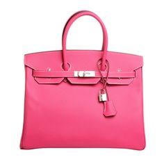 Hermes Rose Tyrien Epsom Birkin 35cm Palladium Hardware | From a collection of rare vintage handbags and purses at https://www.1stdibs.com/fashion/accessories/handbags-purses/