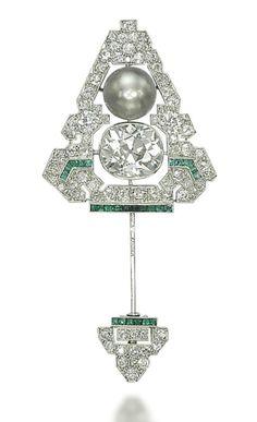 An Art Deco Natural Pearl, Diamond, and Emerald Jabot Pin - Cartier