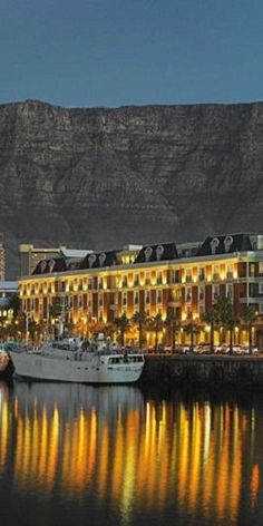 Cape Grace Hotel, overlooking Table Mountain, Cape Town, South Africa -- see also Lionshead and Seven Sisters mountain range -- beautiful! The Places Youll Go, Places To See, Cape Town South Africa, Most Beautiful Cities, Amazing Places, Out Of Africa, Africa Travel, Wonders Of The World, Around The Worlds