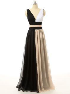 Celebrity Dresses, Star Dresses,Women's Long Black White and Champagne Formal Evening Dresses