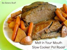 Put everything in a bag and freeze. Put it in the slowcooker and cook all day. - Melt in your Mouth Slowcooker Pot Roast! Your whole family will love it!