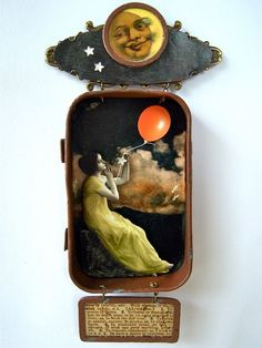 Mixed media hanging Altoid tin shadow box shrine - What To Do On a Starless Night.via Etsy. Love the upcycle of the Altoid tin. Shadow Box Kunst, Shadow Box Art, Altered Tins, Bricole Girl, Art Journaling, Tin Art, Altoids Tins, Found Object Art, Jars