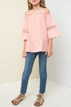 Hayden Clothing Off the Shoulder Tunic Top for Girls in Peach