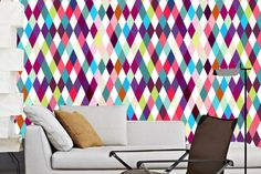 Chevron Wallpaper / Pattern Wallpaper / Vinyl Self-adhesive / Removable Wallpaper / peel and stick/ temporary wallpaper - colors diamonds