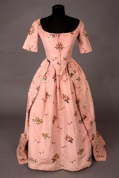 Pink Silk Brocade Dress & Petticoat, 1770s - from Tasha Tudor's collection