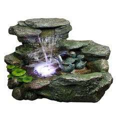 Arrayed with white LED lights, the Bond Gainesville Outdoor Fountain makes an attractive focal piece in both daylight and nighttime hours. Concrete Fountains, Small Fountains, Water Fountains, Tabletop Fountain, Indoor Fountain, Outdoor Waterfall Fountain, Cascade Water, Backyard Water Feature, Exterior