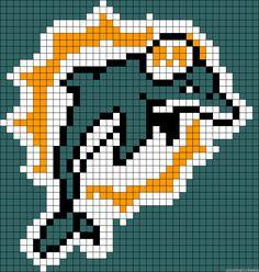 Pixel Art Templates, Perler Bead Templates, Perler Patterns, Plastic Canvas Coasters, Plastic Canvas Patterns, Football Quilt, Miami Dolphins Logo, Sports Quilts, Cross Stitch Designs