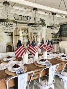 Fourth of July decorations are the best way to celebrate Patriotic day with your friends and family. Here are some easy July fourth decorations ideas. Fourth Of July Decor, 4th Of July Decorations, 4th Of July Party, July 4th, Table Decorations, Spring Decorations, Centerpiece Ideas, Table Centerpieces, Country Kitchen Tables