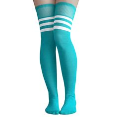 Teal over the knee socks.  We have all sorts of athletic striped thigh high socks. Many of color variations.  Chrissy's Socks 877-862-6267