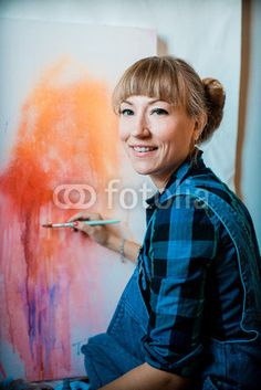 beautiful blonde woman painter from $1