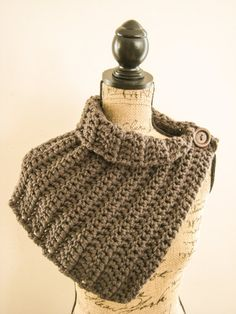 Crochet Scarf Cowl Charcoal Gray Crochet Scarf by ScarvesbyDR